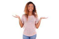一名年轻非裔美国人的妇女的画象-黑人 库存图片