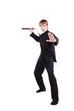 一和服实践的kung fu的人与nunchaku 免版税库存图片