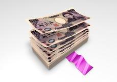 一团日元钞票 库存图片