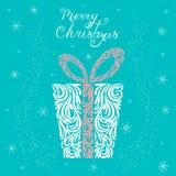 一圣诞礼物的传染媒介例证在一个欢乐箱子的在白色,蓝色和粉色 风格化缎带包装 r 纹身花刺 库存例证