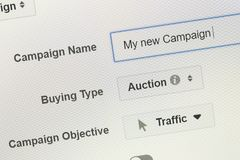 一场广告战的创作在模块广告经理的 库存照片