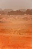 一场沙尘暴在沙漠 库存照片