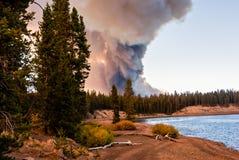 在Yellowstone湖的森林火灾 库存照片