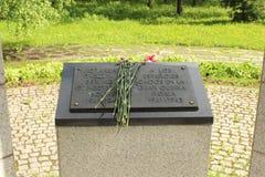 一块匾在教堂里,被架设以记念第二次世界大战的西班牙志愿者 免版税库存图片