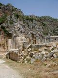 一块古老被破坏的城市和大墓地的废墟 免版税库存照片