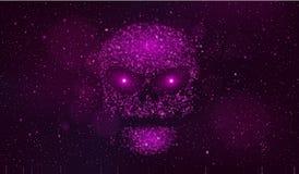 一块大紫色头骨由在外层空间的二进制编码标志做成 黑客打破了计算机系统 意想不到,紫色满天星斗的天空 免版税库存图片