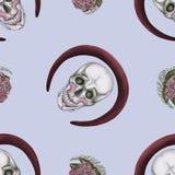 一块头骨与组成和环绕红色框架 库存例证