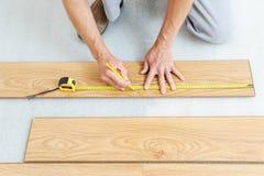 一块层压制品的地板的设施 免版税图库摄影