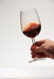一块手举行红葡萄酒玻璃 库存图片