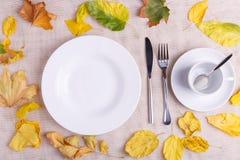 一块板材用食物和一个空的杯子在秋天构成 库存图片