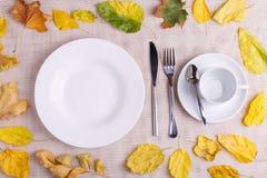 一块板材用食物和一个空的杯子在秋天构成 免版税库存照片