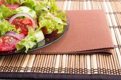 一块板材的特写镜头视图用未加工的蕃茄新鲜的沙拉  库存图片