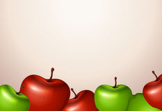 一块模板用红色和绿色苹果 库存图片