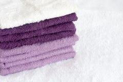 一块白色和紫罗兰色海绵 库存图片