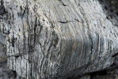 一块石头的纹理在挪威的山的 特写镜头 库存照片