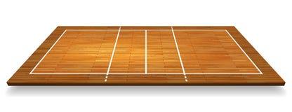 一块硬木的一张鸟瞰图的例证与透视排球场的 传染媒介EPS 10 向量例证