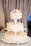 一块美丽的婚宴喜饼 库存图片