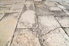 一块老砖的透视图 边路瓦片,边路的纹理在圣殿山的在耶路撒冷 免版税库存照片