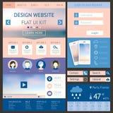 一块页网站设计模板,平的ui成套工具 碱性 免版税库存图片
