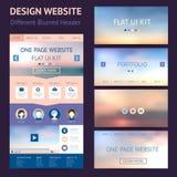 一块页网站设计模板,平的ui成套工具 库存照片