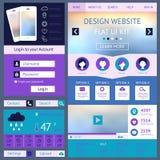 一块页网站设计模板,平的ui成套工具 免版税图库摄影