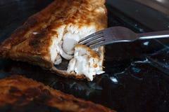 一块鱼fillett在面团油煎了 免版税库存图片
