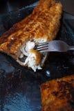 一块鱼fillett在面团油煎了 库存照片
