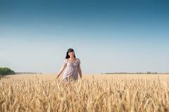 一块麦田的美丽的少妇 免版税库存照片