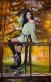 一处浪漫秋天风景的年轻白种人肉欲的妇女。秋天夫人。在森林里塑造一个美丽的少妇的画象 库存照片