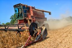 一大豆harvestor在一个家庭农场的工作在路易斯安那 免版税库存照片