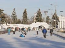 一大滑冰场在冬天莫斯科 免版税库存图片