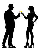 一夫妇人妇女饮用的香槟敬酒 图库摄影