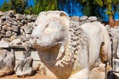 一头狮子的古老石雕塑在阿波罗寺庙的在Dydim 库存照片