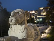 一头狮子的雕塑的夜框架在克里姆林宫附近的亚历山大公园 库存照片