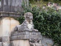 一头狮子的雕象在一个垫座的在Peles城堡的庭院里在锡纳亚,在罗马尼亚 库存图片