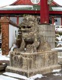 一头石狮子的雕象 库存照片