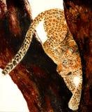一头豹子的原始的绘画在树的 库存照片