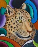 一头豹子的头反对五颜六色的背景的 免版税库存图片
