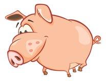 一头逗人喜爱的猪的例证 背景漫画人物厚颜无耻的逗人喜爱的狗愉快的题头查出微笑白色 免版税图库摄影