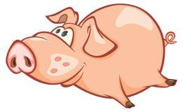 一头逗人喜爱的猪的例证 背景漫画人物厚颜无耻的逗人喜爱的狗愉快的题头查出微笑白色 免版税库存图片