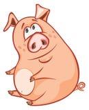一头逗人喜爱的猪的例证 背景漫画人物厚颜无耻的逗人喜爱的狗愉快的题头查出微笑白色 库存照片