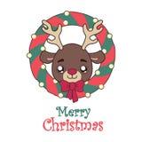 一头逗人喜爱的驯鹿的例证和圣诞节缠绕 免版税库存照片