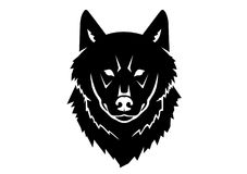 一头野生狼的黑剪影在白色背景的 免版税库存照片