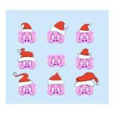 一套一张照片写真的支柱圣诞节和新年,以猪的头的形式面具有圣诞节帽子的 向量例证