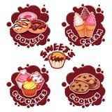 一套不同的甜点的标签以巧克力sp的形式 免版税库存图片