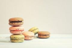 一套不同的macarons 免版税库存照片