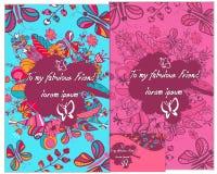 一套与蝴蝶和花的卡片 时髦的字法 对问候 免版税图库摄影