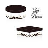 一套两个典雅的礼物盒,在周围和正方形,与洛可可式的维多利亚女王时代的装饰元素 与棕色颜色的白色 免版税库存照片