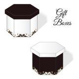 一套两个典雅的礼物盒,有洛可可式的维多利亚女王时代的装饰元素的 与棕色颜色的白色 库存图片