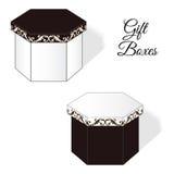 一套两个典雅的礼物盒,有洛可可式的维多利亚女王时代的装饰元素的 与棕色颜色的白色 免版税库存照片